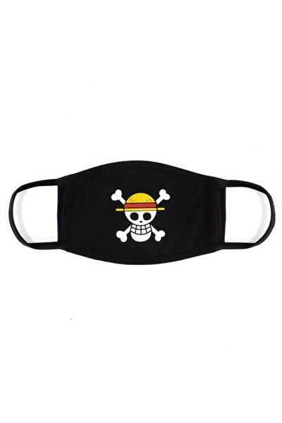 One Piece Luffy %100 Pamuklu Siyah Penye Kumaş Yıkanabilir Maske B095-041s