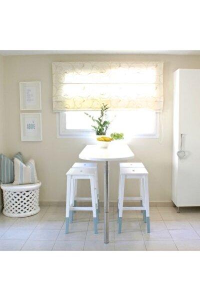 45x90 Cm Süt Beyaz Parlak Mdf Lam Mutfak Bar Masası Yükseklik 75 Cm