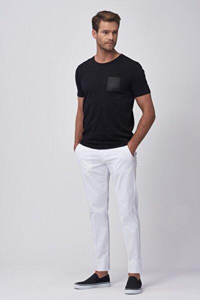 Erkek Beyaz Slim Fit Casual Pantolon