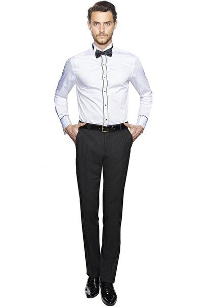 Erkek Beyaz Damatlık Ata Yaka Tailored Slim Fit Gömlek