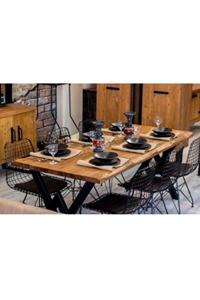 Asel Kütük 6 Kişilik Mutfak Masası Takımı-yemek Masası Takımı- Doğal Kütük Ağacı