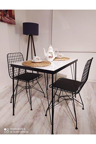 Ezgi 2 Kişilik Yemek Masası Takımı-mutfak Masası Takımı-beyaz