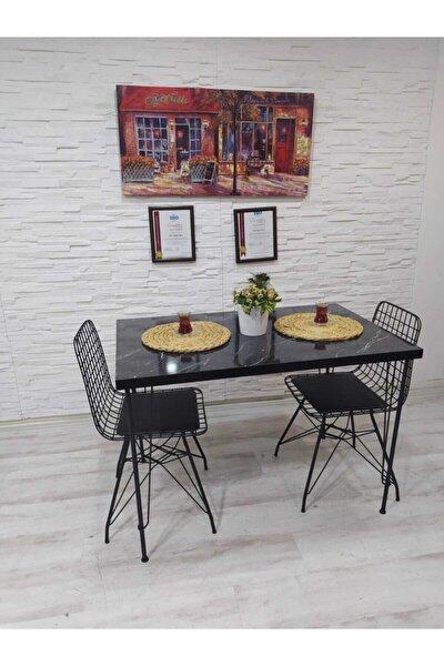 Mera 2 Kişilik Yemek Masası Takımı-mutfak Masası Takımı-siyah Mermer Desenli