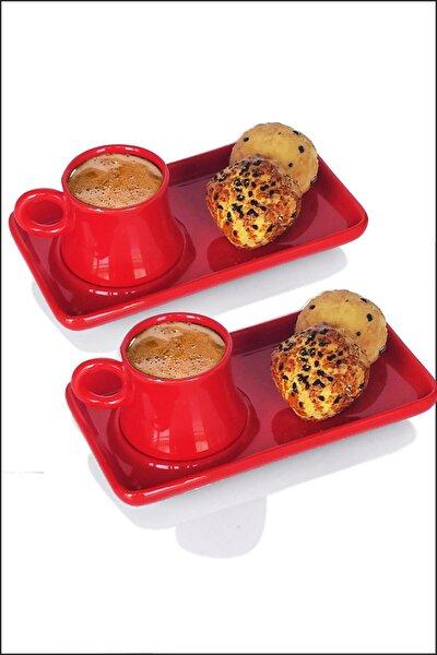 2 Kişiliktepsili Seramik Kahve Fincanı