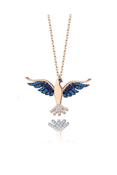 925 Ayar Gümüş Rose Lacivert Safir Ve Turkuaz Taşlı Zümrüdü Anka Cennet Kuşu Kolye