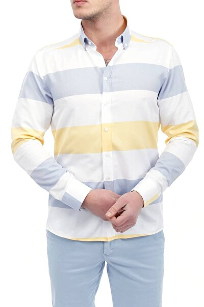 Sarı Beyaz Panolo Slim Fit Gömlek