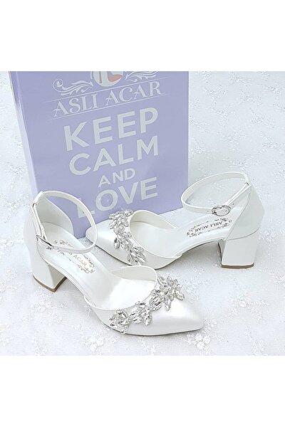 6,5 Cm Taşlı Tasarım Kırık Beyaz Stiletto Gelin Ayakkabısı