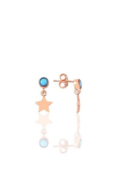 Gümüş Turkuaz Taşlı Yıldız Modeli Küpe