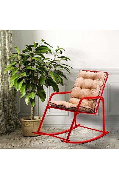 Minderli Kırmızı Metal Sallanan Sandalye