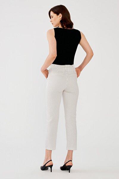 Kadın Siyah Çizgili Yüksek Bel Pantolon
