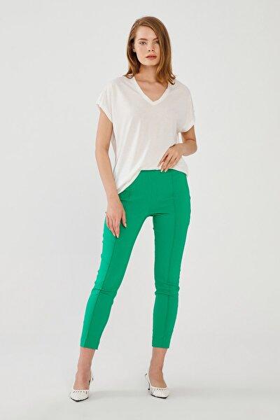 Kadın Yeşil Fermuarlı Tayt Pantolon