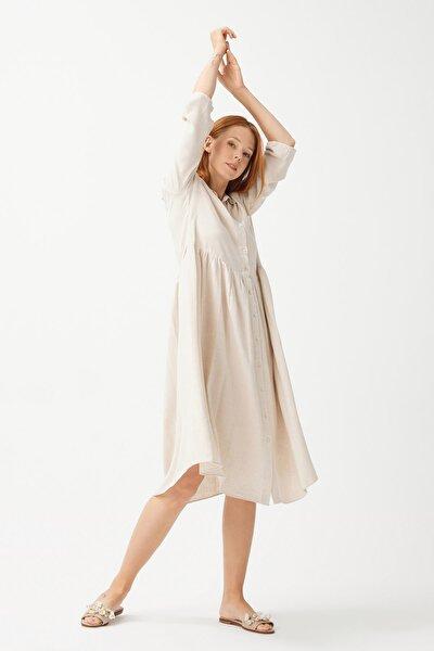 Kadın Bej Beli Büzgülü Keten Elbise