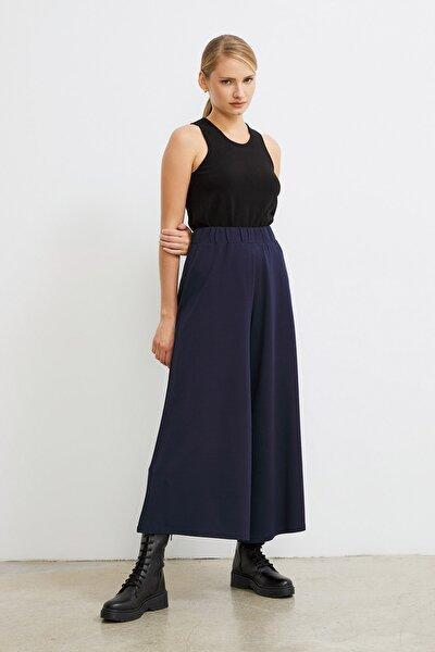 Kadın Lacivert Beli Lastikli Culotte Pantolon