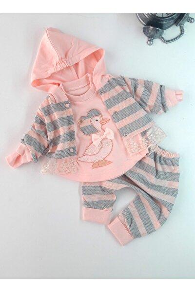 Kız Bebek Pembe Ördek İşlemeli Hırkalı Takım 3lü