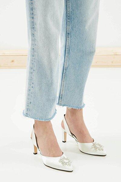 Kadın Beyaz Kısa Topuklu Taşlı Abiye Ayakkabı
