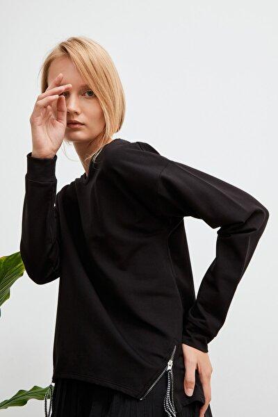 Kadın Siyah Fermuar Detaylı Sweatshirt