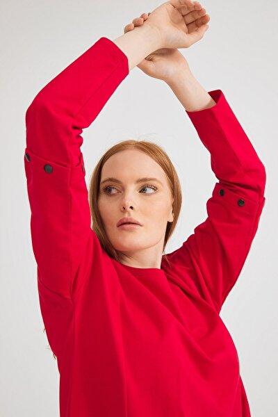 Kadın Kirmizi Kolları Çıtçıt Detaylı Sweatshirt