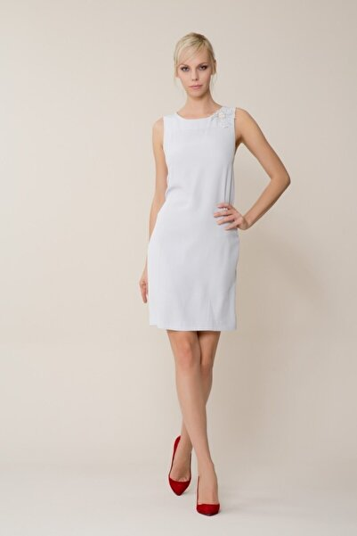 Kadın Broş Detaylı Gri Mini Elbise M18YEW0881XUC