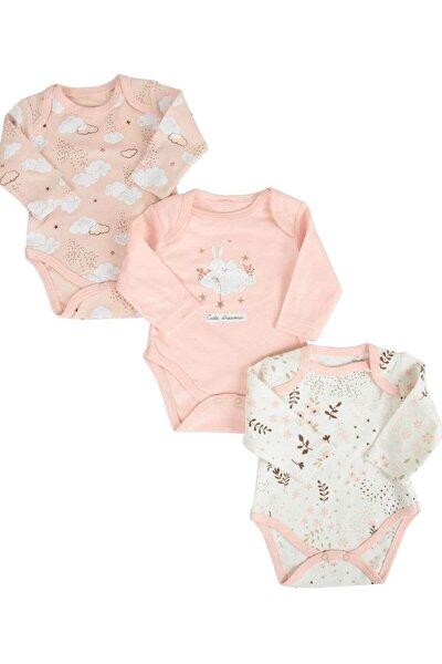 Somon Kız Bebek Bulutlu Çiçekli 3'lü Bebek Body & Zıbın