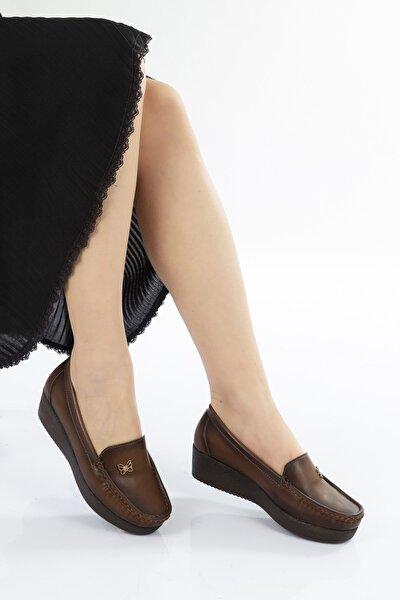 Kadın Taba Kahverengi Tabanlı Günlük Rahat Dolgu Topuklu Ayakkabı
