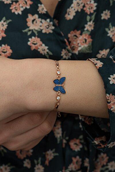 925 Ayar Mavi Taşlı Kelebek Kadın Gümüş Bileklik