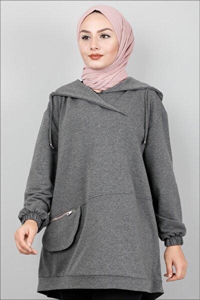 Kadın Koyu Gri Kapüşonlu Cep Detaylı Sweatshirt  44