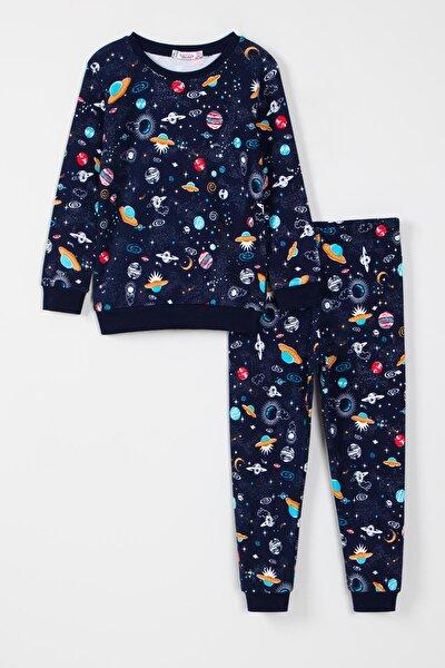 Erkek Çocuk Uzay Desenli Pijama Takımı