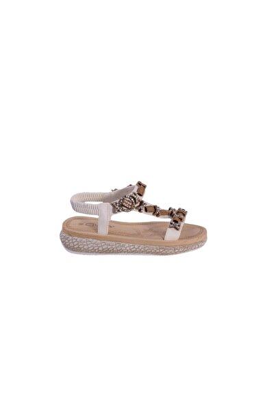 Kadın Beyaz Ortopedik Günlük Sandalet 19y209-6