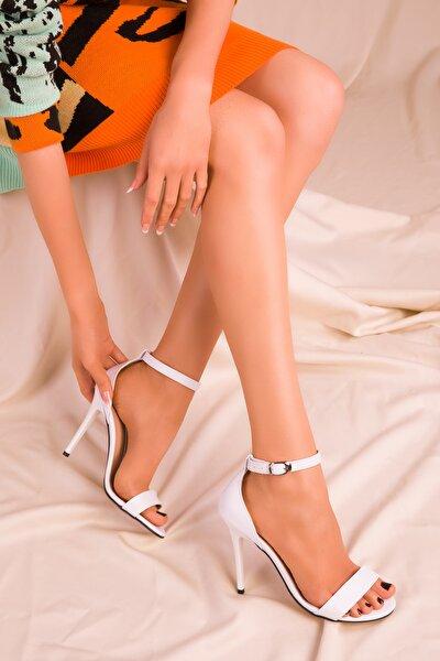 Beyaz Kadın Klasik Topuklu Ayakkabı 14399