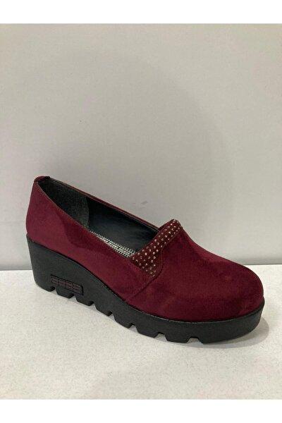 Kadın Bordo Dolgu Ayakkabı