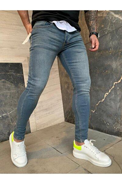 Erkek  Mavi Slim Fit Likralı Kot Pantolon