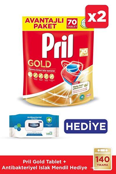 Gold 140 Yıkama Bulaşık Makinesi Deterjanı Tablet(2x70)+DeepFresh 56 Antibakteriyel Islak Mendil Hed