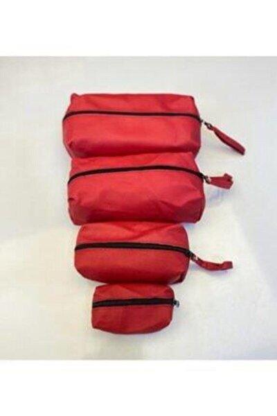 4lü Matruşka Kırmızı Makyaj Çantası