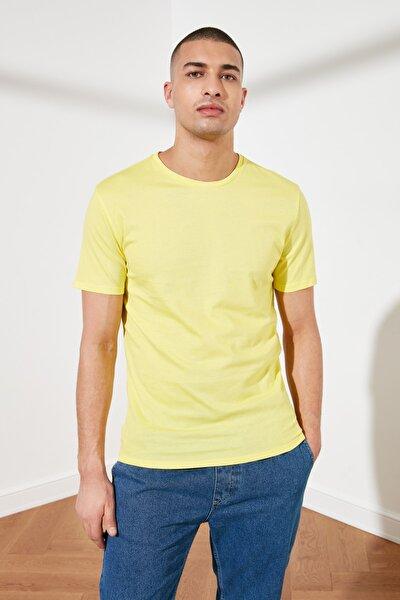 Sarı Erkek Basic Pamuklu Kısa Kollu Slim Fit T-Shirt - TMNSS19BO0001