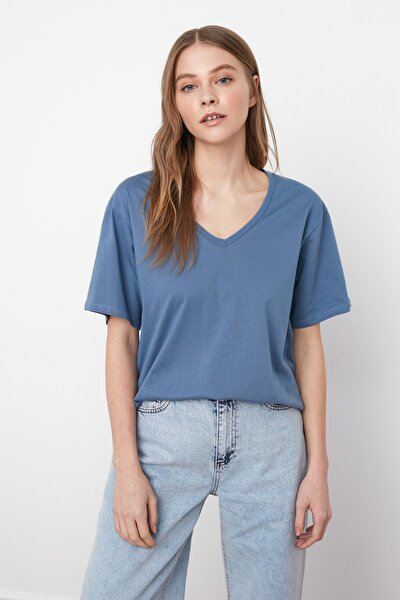 Indigo %100 Pamuk Süprem V Yaka Boyfriend Örme T-Shirt TWOSS20TS0132
