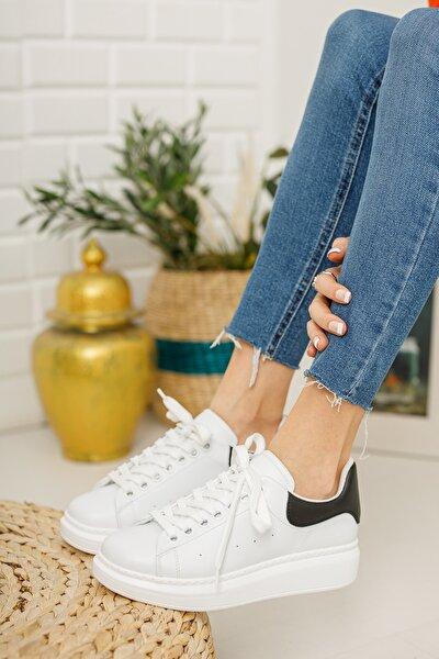 Kadın  Beyaz Siyah Sneaker
