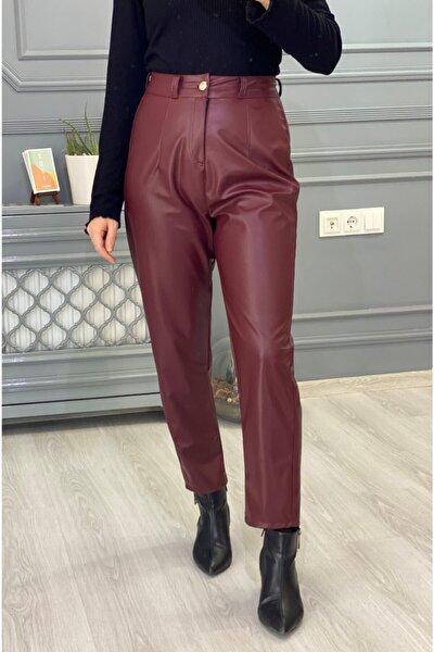 Kadın Bordo Yüksek Bel Deri Pantalon