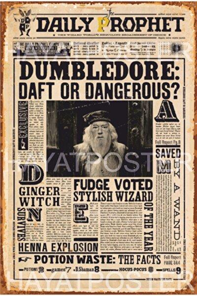 Harry Potter Gazetesi Dumbledore Retro Vintage Ahşap Poster