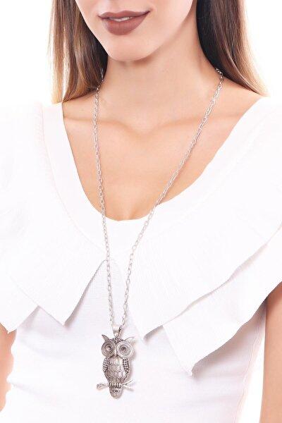 Kadın Antik Gümüş Kaplama Baykuş Simge Uçlu Zincir Kolye