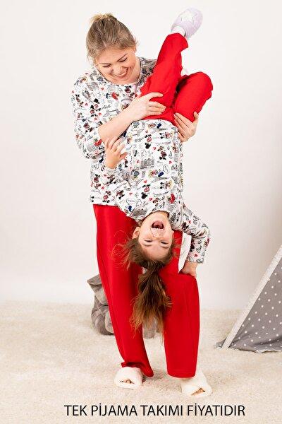 Kadın Kırmızı Anne Kız Model Eyfel Desenli Pijama Takımı ARM-21K001116