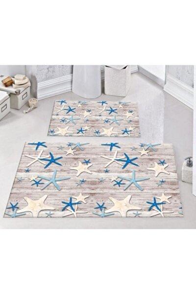 Rengarenk Deniz Yıldızı 2'li Kaymaz Banyo Klozet Takımı Paspas 0286