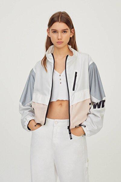 Kadın Beyaz Blok Renkli Tasarım Ceket 04711305