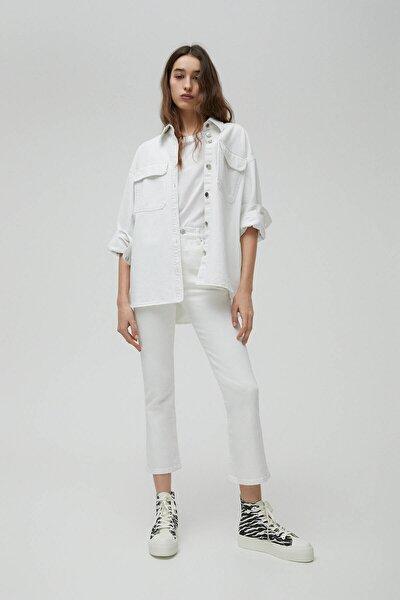 Kadın Beyaz Basic İspanyol Paça Jean