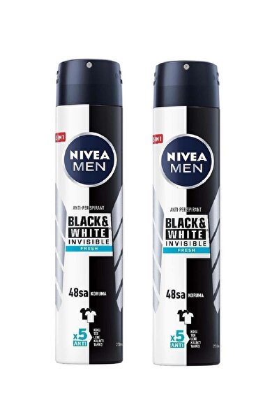 Men Black & White Invisible Fresh 200 ml Erkek Deodorant 2 Adet
