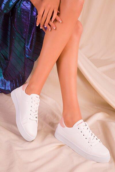Beyaz-Pudra Kadın Sneaker 15818