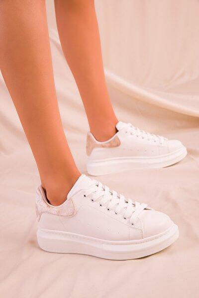 Beyaz-Ten Kadife Kadın Sneaker 15732