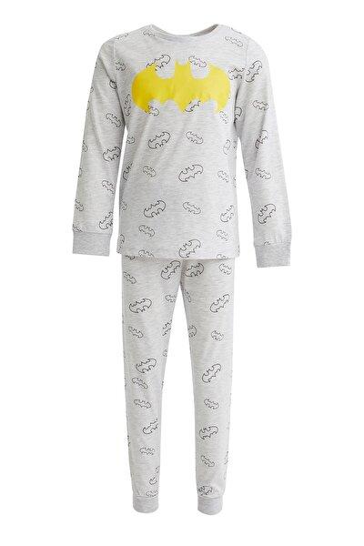 Erkek Çocuk Gri Batman Lisanslı Pijama Takımı
