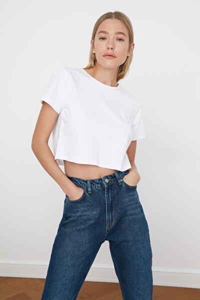 Beyaz %100 Pamuk Bisiklet Yaka Crop Örme T-Shirt TWOSS20TS0135