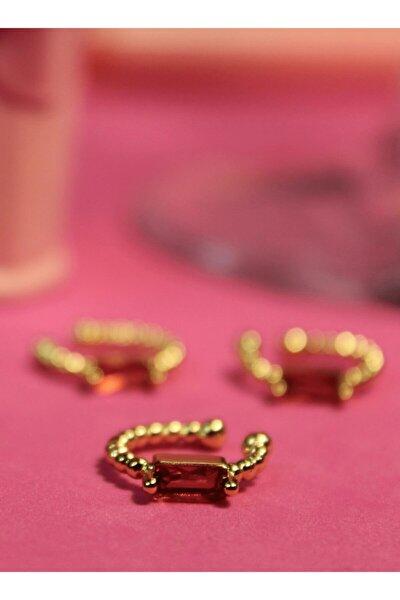 Kadın Altın Kaplama Zirkon Taşlı Kıkırdak Çift Küpe - Ear Cuff