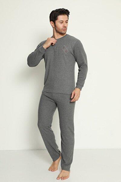 Erkek Füme Baklava Nakışlı Düğmeli Uzun Kollu Pijama Takımı